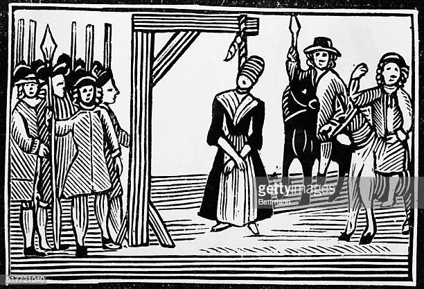 Picture shows a witch hanging in England in teh 17th Century Undated woodcut