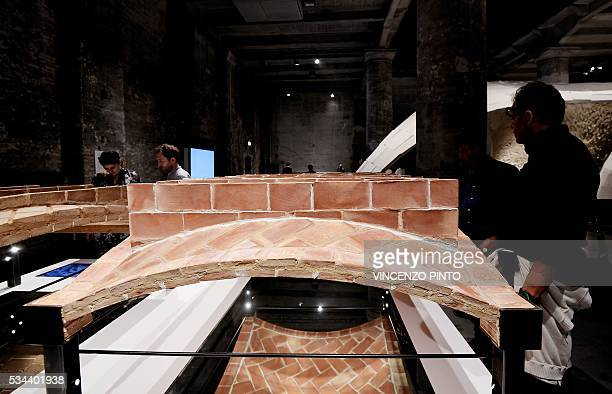 A picture shows a work made by 'Block research Group' from Zurich on May 25 2016 during the opening of the 15th International Architecture Exhibition...
