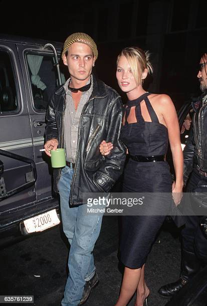 1995 Picture shows actor Johnny Depp walking with girlfriend/model Kate Moss in the street in New York They are going to a book signing at the James...