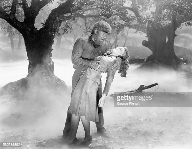 1941 Picture shows actor Lon Chaney Jr grabbing actress Evelyn Ankers in the Universal picture The Wolfman