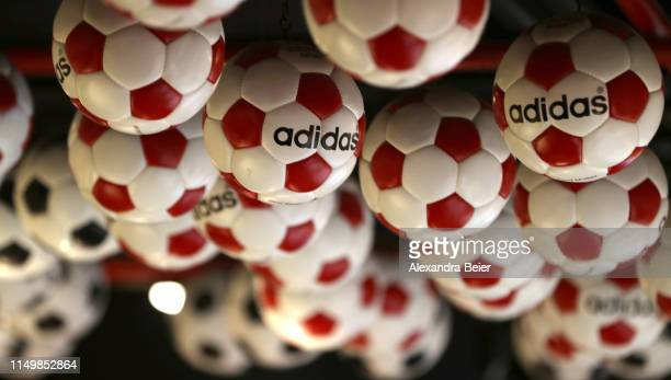 Picture shows adidas football balls presented at the FC Bayern Erlebniswelt museum on May 10, 2019 in Munich, Germany.