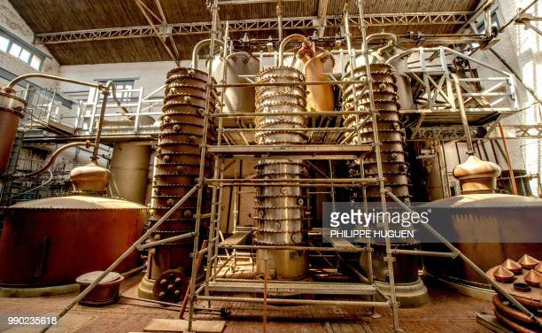 A picture shows alembics and colums of distillation at the Claeyssens de Wambrechies ditellery on June 28 2018 in Wambrechies Classified as historic...