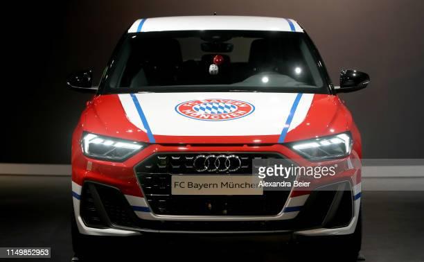 Picture shows an Audi car presented as partner of the club at the FC Bayern Erlebniswelt museum on May 10, 2019 in Munich, Germany.