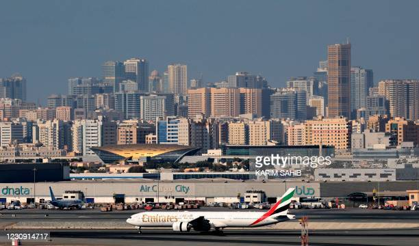 Picture shows an Emirates Airlines aeroplane at Dubai International Airport on February 1, 2021.