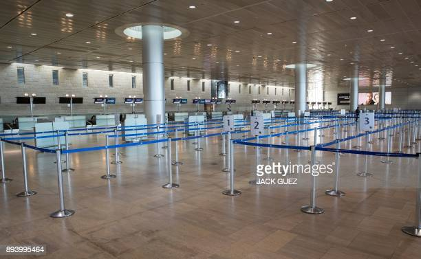 Picture shows an empty departures hall at Ben Gurion Airport near the Israeli city of Tel Aviv on December 17, 2017. Flights at Israel's main airport...