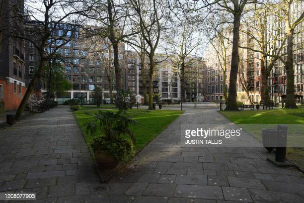 A picture shows an empty St John's Garden Park in Westminster in central London on March 24 2020 after Britain ordered a lockdown to slow the spread...