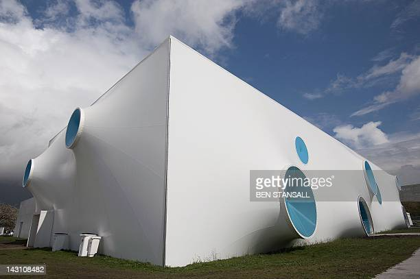 A picture shows an exterior view of the shooting complex during the ISSF World Cup London shooting competition part of the London Prepares series of...