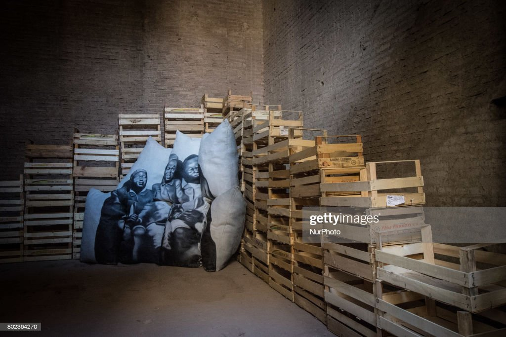 "A picture shows an installation by artist Thorsten Kirchhoff titled ""Cul-de-sac"" on June 27, 2017 at the Palatine Hill in Rome during a press preview of the exhibition ""From Duchamp to Cattelan, Contemporary art on Palatine Hill""."