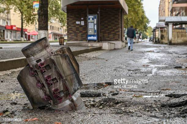 Picture shows an unexploded rocket in the breakaway Nagorno-Karabakh region's main city of Stepanakert on October 6 during the ongoing fighting...