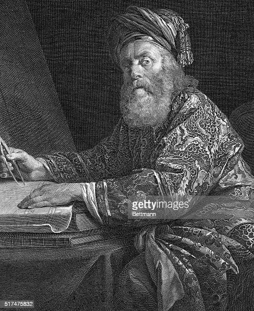 Picture shows Archimedes Greek mathematician and inventor Famous for treatises on volumes of spheres and cylinders on value of pi on spiral and on...