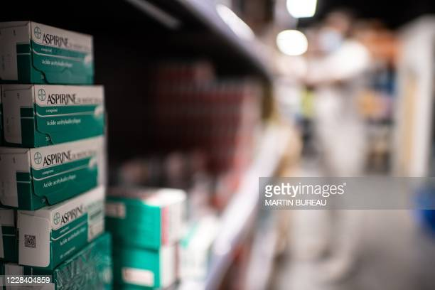Picture shows aspirine boxes in the biggest French pharmacy in Paris, on September 8, 2020.