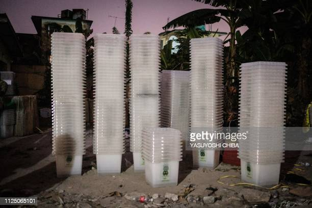 A picture shows ballot boxes which are to be brought to polling stations stacked at the local office of the Independent National Electoral Commission...