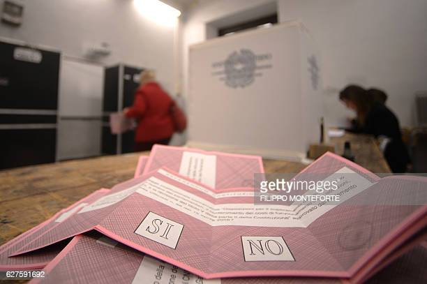 Picture shows ballots in a polling station during a referendum on constitutional reforms, on December 4, 2016 in Rome. Italians began voting today in...