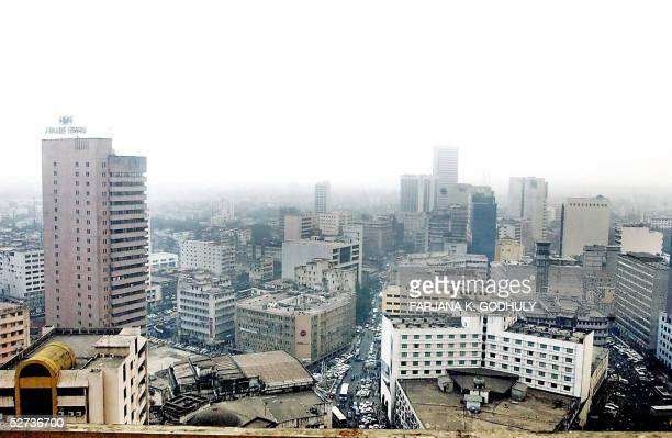 Picture shows Bangladeshi high-rise buildings at the Motijheel commercial area in downtown Dhaka, 25 April 2005. The recent collapse of a factory...