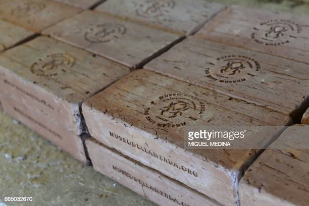 A picture shows bricks made from 'Merdacotta' on march 28 2017 at the Shit Museum in the Castelbosco castle of Gragnano Trebbiense The idea of the...
