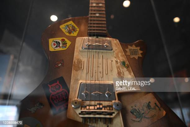 A picture shows British musician Zoot Moneys Wandre Blue Jean model guitar the first guitar Jimi Hendrix played in Britain on display inside the...
