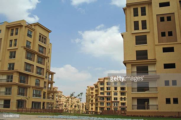 A picture shows buildings at the new megadevelopment project 'Madinaty' 40 kms east of Cairo on September 15 2010 The Egyptian government renewed its...