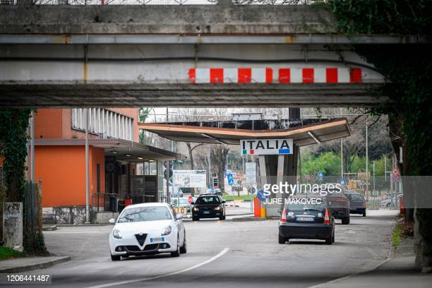 Picture shows cars exiting and entering Slovenia at one of the former border crossings in Nova Gorica, on the Slovenian-Italian border, on March 10...
