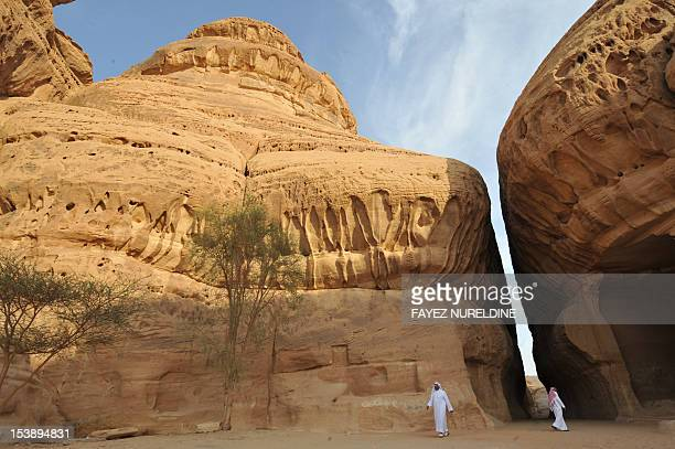 A picture shows carved rosecoloured sandstone mountains in the Nabataean archaeological site of alHijr near the northwestern town of alUla Saudi...