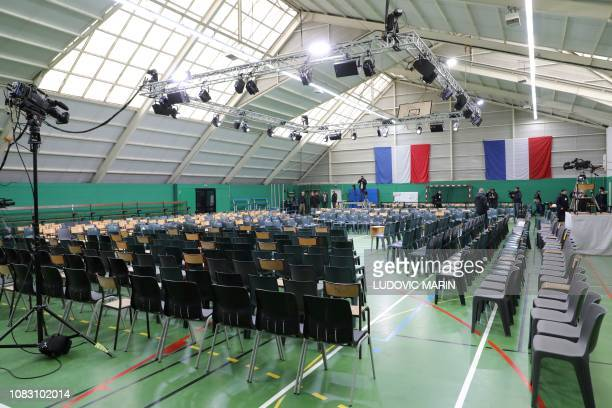 A picture shows chairs installed in the Benedeti gymnasium in Grand Bourgtheroulde northwestern France on January 15 2019 where will be launched in...