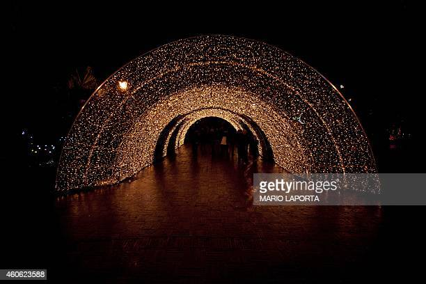 A picture shows Christmas lights during the 'Luci d'Artista' event on December 17 2014 in Salerno southern Italy The theme for the 20142015 event is...