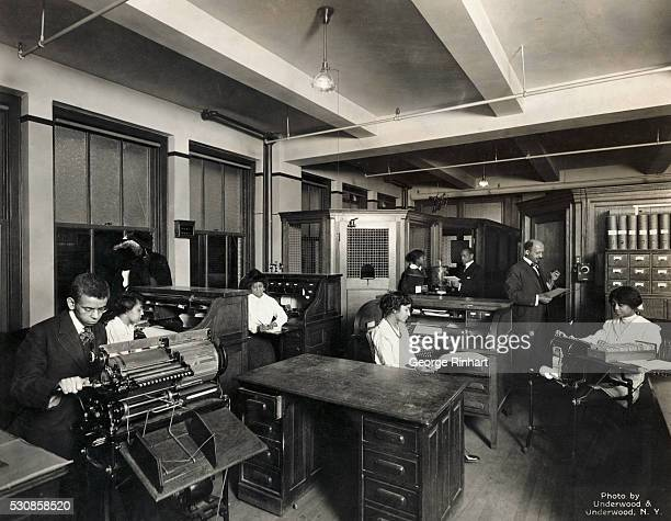 Picture shows civil rights activist WEB DuBois in the office of the NAACP's magazine Crisis