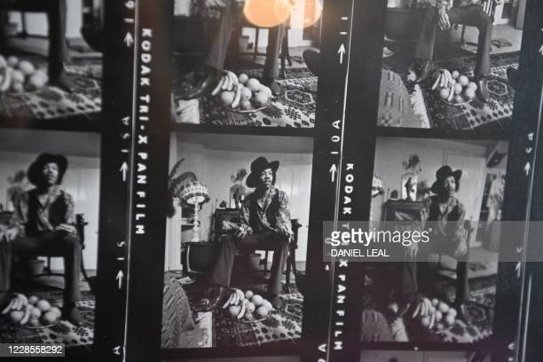 TOPSHOT A picture shows contact sheets of images captured on January 4 1969 by photographer Barrie Wentzell inside the Hendrix Flat a London flat...