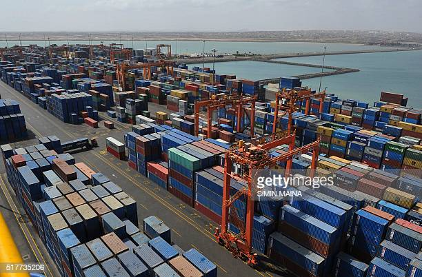 A picture shows containers and a general view of the port of Djibouti on March 27 2016 The Port of Djibouti is located at the southern entrance to...