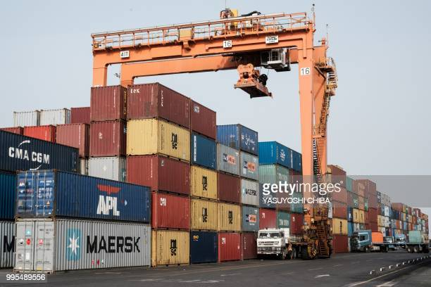A picture shows containers at the Doraleh Container Terminal in Djibouti on July 4 2018 East Africa's smallest country Djibouti launched on July 5...