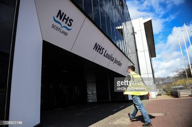 A picture shows contractors on the site outside the new NHS Louisa Jordan hospital at the Scottish Events Campus in Glasgow in the SEC Centre Glasgow...