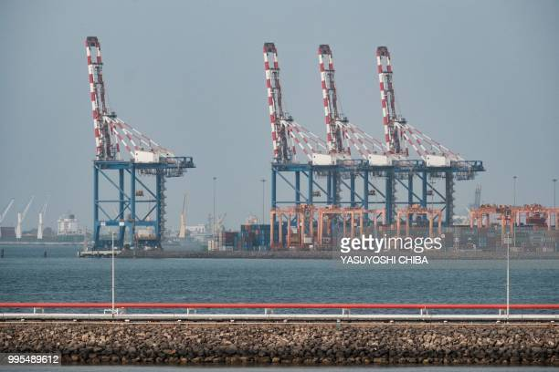 A picture shows cranes of the Doraleh Container Terminal in Djibouti on July 4 2018 East Africa's smallest country Djibouti launched on July 5 the...