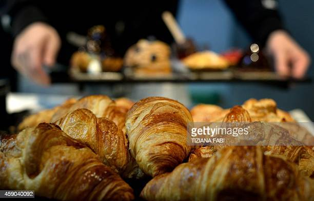 A picture shows croissants in shop on November 14 2014 in Rome AFP PHOTO / TIZIANA FABI