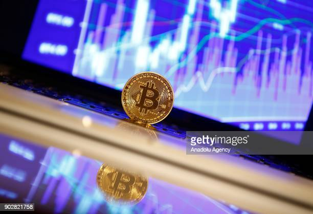 A picture shows Cryptocurrency Bitcoins in Ankara Turkey on January 03 2018