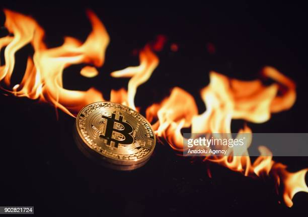 A picture shows Cryptocurrency Bitcoins in Ankara Turkey on January 04 2018