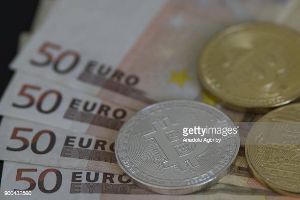 A picture shows Cryptocurrency Bitcoins in Ankara Turkey on January 2 2018
