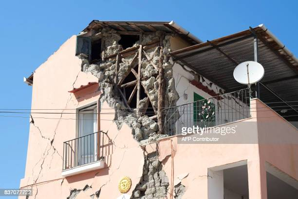 Picture shows damage caused on houses in Casamicciola Terme, on the Italian island of Ischia, on August 22 after an earthquake hit the popular...
