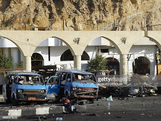 A picture shows destruction after a bomb attack in the Egyptian resort of Sharm elSheikh early 23 July 2005 At least 65 people were killed including...