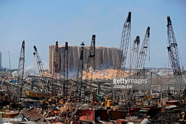 TOPSHOT A picture shows destruction at Beirut port on August 5 2020 in the aftermath of a massive explosion in the Lebanese capital Rescuers searched...