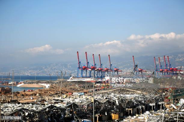 Picture shows destruction at Beirut port on August 5, 2020 in the aftermath of a massive explosion in the Lebanese capital. - Rescuers searched for...