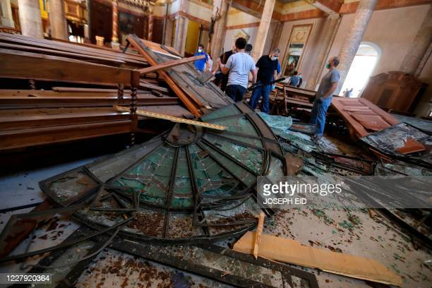A picture shows destruction inside the Saint George Maronite Church on August 5 2020 in the aftermath of a massive explosion in the Lebanese capital...
