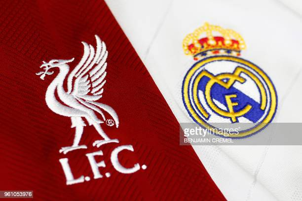 Picture shows detail of jerseys badges of Real Madrid CF and Liverpool FC football teams in Madrid on May 21 2018 Real Madrid CF and Liverpool FC...