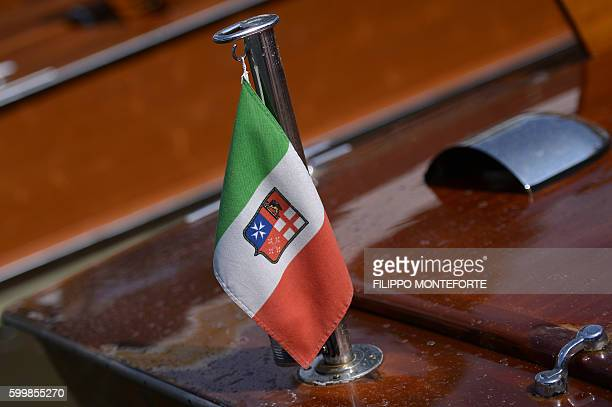 Picture shows details of a wooden taxi boat at the Excelsior Hotel during the 73rd Venice Film Festival on September 7, 2016 at Venice Lido. / AFP /...