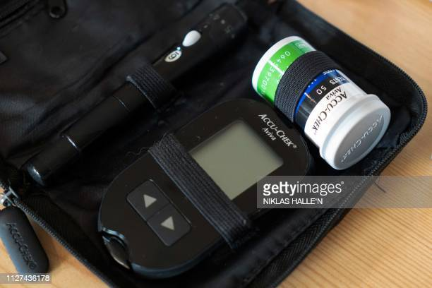 Picture shows devices used to measure blood sugar levels belonging to David Burns who has type 1 diabetes, in his home in North London on February...