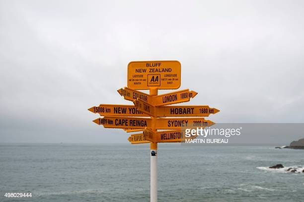 A picture shows direction signs with the distances of various cities at Stirling Point in Bluff on September 14 2011 AFP PHOTO / MARTIN BUREAU