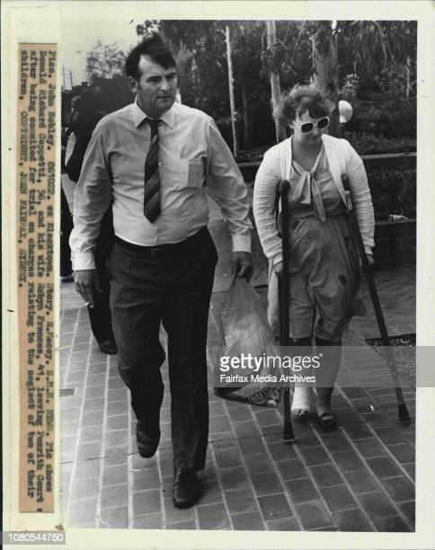 Picture shows Donald Richard Cappetti and his wife Robyn Frances leaving Penrith Court after being committed for trial on charges relating to the...