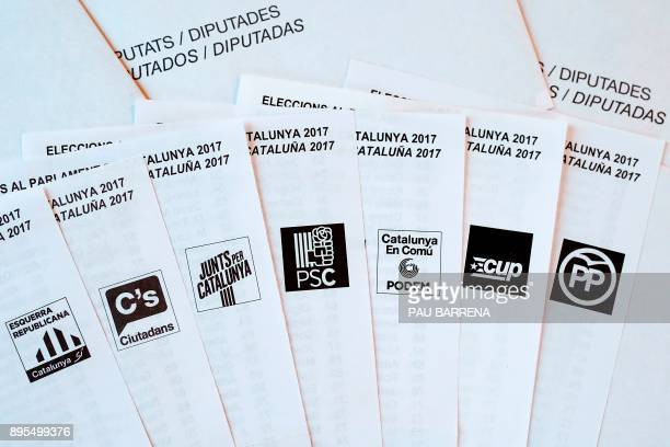 Picture shows election ballots of the main Catalan political parties ahead of the upcoming Catalan regional election in L'Hospitalet del Llobregat on...