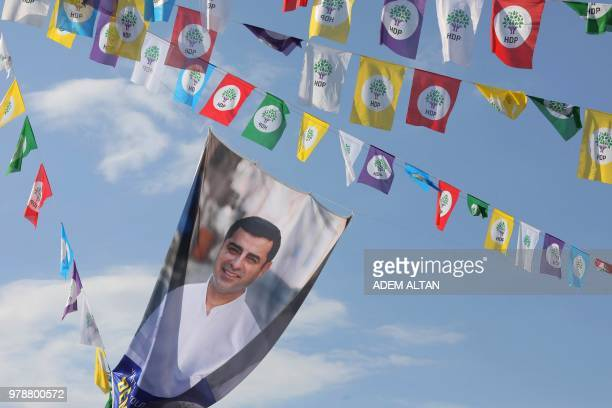 Picture shows election flags displaying imprisoned Selahattin Demirtas, Presidential candidate and leader of People's Democratic Party in Ankara, on...