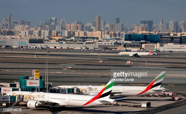 Picture shows Emirates Airlines aeroplanes at Dubai International Airport on February 1, 2021.