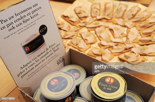 "Picture shows ""Faux Gras"", a vegetarian alternative to Foie Gras, presented by Belgian animal rights group Gaia, on December 18 in Brussels during a..."