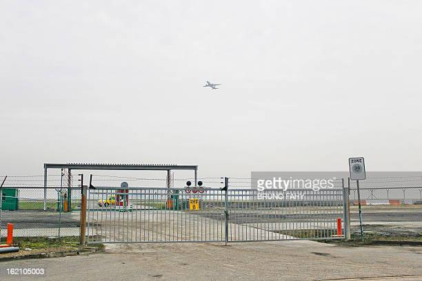A picture shows fences surrouding Bussels international airport in Zaventem on February 19 2013 Armed robbers made off with $50 million worth of...